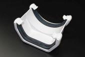 White Square Plastic to Half Round Plastic Adaptor (floplast)