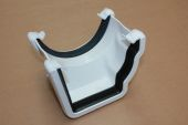 Right Hand Adaptor to Half Round Gutter (niagara white)