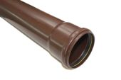 4 Metre x 110mm Single Socket Pipe (brown)